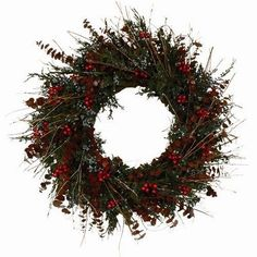 "Urban Florals 4269 Juniper Holiday Wreath Size: 22"" by Urban Florals. $70.00. Urban Florals 4269 Features: -Designed with natural preserved blue juniper grown in colorado accented with red preserved eucalyptus, birch twigs and faux holly berries. -Perfect for protected door to welcome family and friends this fall season. Size: 22"""
