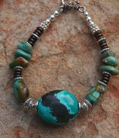 Turquoise Bracelet with Pewter Bone and Silver Large by cherries33