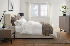 Marlo bed brings distinction to your bedroom furniture as modern bedroom furniture with a fabric bed frame to create an inviting bed. Ottoman In Living Room, Living Room Decor, Bedroom Decor, Bedroom Ideas, Bedroom Bed, Master Bedrooms, Bedroom Inspo, Bedroom Inspiration, Dining Room