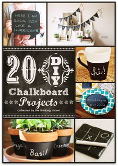 20 DIY Chalkboard Projects via thinkingcloset.com.  Some great gift ideas for the holidays in this mix!