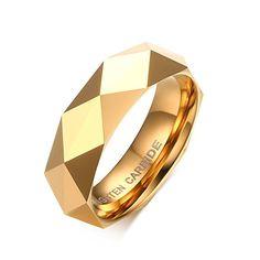 Vnox 6 millimetri Uomo carburo di tungsteno Wedding Band sfaccettato triangolo taglio superficiale anello di fidanzamento in oro