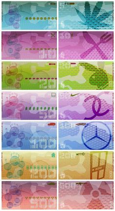 Alternative design for Euro currency notes, featuring the Eurochild character from the front cover of Massive Attack's Protection album. Designed by 3D and Tom Hingston in 1999, when the European currency was first introduced.