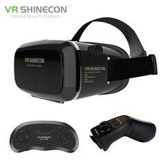 VR Shinecon Plus Pro Update Google Cardboard Helmet VR BOX Headset for 4-6' Mobile Phone + Original Bluetooth Remote Control