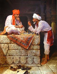 2 Arab men are playing a hard game of Chess in Cairo, Egypt!Egyptian Art - Arabic Art - Oriental Art - Handmade Oil Painting On Canvas Realistic Oil Painting, Oil Painting On Canvas, Artist Painting, Oil Paintings, Indian Paintings, Watercolor Painting, Watercolor Artists, Painting Lessons, Abstract Paintings