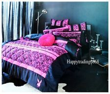 Awesome PLAYBOY Bunny Logo Racey Lace Black Pink * 3pc Queen Quilt Coverlet  Pillowcases