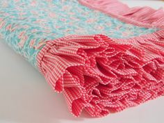 Red Gingham Ruffles and Bird Quilted Blanket for Baby Girl by SWDesignsBaby, $75.00
