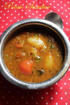 YUMMY TUMMY: Potato Sambar Recipe / Urulai Kizhangu Sambar Recipe