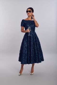 full skirt outfit French Navy floral lace tea dress with bateau neckline, short cap sleeves and full circle skirt Available in High Low and Pencil Mother Of The Bride Fashion, Mother Of The Bride Dresses Long, Mother Of Bride Outfits, Mob Dresses, Tea Length Dresses, Dresses With Sleeves, Cap Sleeves, Fashion Dresses, Party Dresses