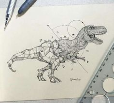 T-Rex Fused With Geometric Shapes by Kirby Rosanes