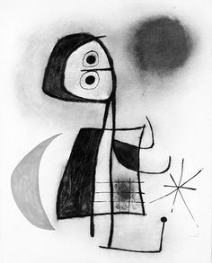 "thatsbutterbaby: "" Joan Miró, Femme devant la lune, Gouache, pastel and ink on paper. Kandinsky, Dali, Joan Miro Paintings, Artist Art, Miro Artist, Cubism Art, Spanish Artists, Arte Popular, Magritte"