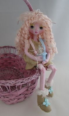 MOUSEFEATHER DOLL, soft sculpture cloth doll with porcelain bunny, made in the USA
