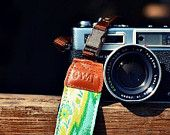 Free Shipping-- Geometric Lemon Camera Strap suits for DSLR / SLR with Quick Release Buckles. $29.00, via Etsy.