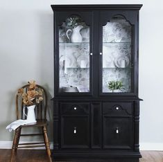 Painted Furniture, Painted Hutch, Furniture Redo, Dining Hutch, Dining Room, China Cabinets And Hutches, Black Hutch, Large Dresser, Cabinets For Sale