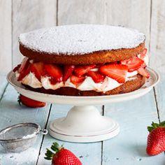 Boozy strawberry and cream cake