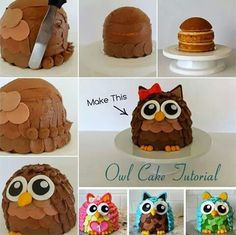 Here is a coolest Owl-shaped cake decorating idea. Owls are a popular choice when it comes to animal design cakes and owl cakes goes well with birthdays, anniversaries or other fun gatherings . Don't (Cake Recipes For Fondant) Fancy Cakes, Cute Cakes, Cake Decorating Tips, Cookie Decorating, Fondant Cakes, Cupcake Cakes, Owl Cupcakes, Animal Cakes, Food Cakes