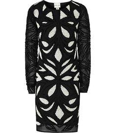 Reiss Freda Embellished Monochrome Dress   Clothing