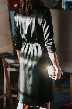 D107 black elegant envelope dress