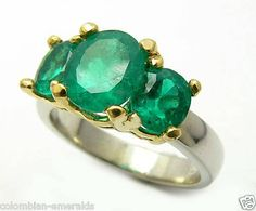 Breathtaking 3.50cts Three Stone Colombian by JRColombianEmeralds, $6625.00