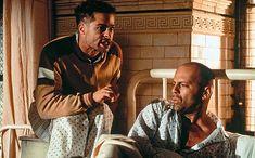 "Bruce Willis, Brad Pitt in ""Twelve Monkeys"" (David Fincher, Universal Studios, Twelve Monkeys, Terry Gilliam, Travel Movies, Time Travel, New Line Cinema, David Fincher, Netflix Movies, 90s Movies"