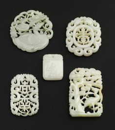 FIVE JADE 'AUSPICIOUS' PLAQUES<br>QING DYNASTY, 19TH CENTURY | lot | Sotheby's