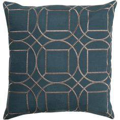 Modern accent pillows are the way to go. The Boyce Toss Pillow is simple and sophisticated in Teal and Light Gray. Made from 100% linen with a polyester fill in