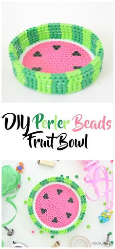 DIY perler bead crafts - DIY Perler Beads Fruit Bowl - Cute Accessories and Homemade Decor That Make Creative DIY Gifts - Plastic Melted Beads Make Cool Art for Walls Jewelry and Things To Make When You are Bored Perler Bead Designs, Diy Perler Bead Crafts, Easy Perler Bead Patterns, Melty Bead Patterns, Hama Beads Design, Diy Perler Beads, Perler Bead Art, Beading Patterns, Melty Beads Ideas