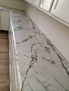 : kitchen progress//formica 180 fx calacatta marble ---this looks a bit darker Countertop Redo, Formica Countertops, Backsplash, Fixer Upper, Dc Fix, Calcutta Marble, Kitchen Redo, Kitchen Remodel, Kitchens