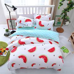 red watermelon comforter bedding bed sets kids pcs white and green doona duvet cover queen king twin geometric bedcover Girl Room, Girls Bedroom, Bedroom Decor, Cute Bedroom Ideas, Cute Room Decor, White Duvet Covers, Duvet Cover Sets, Aesthetic Bedroom, Cool Beds