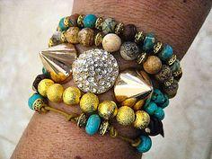 Celebrity Inspired Turquoise Beaded Leather Bracelet...Stack 'em Up   by CelebrityTrendz, $21.00