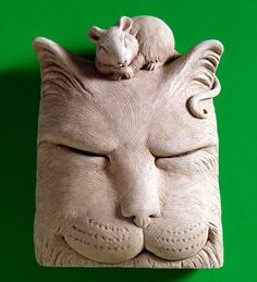 Catnap Stone Plaque by Carruth Studio - Cat & Mouse