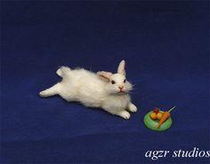 OOAK 1:12 Dollhouse Miniature Bunny Rabbit Furred Realistic Animal Handmade