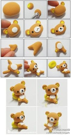 DIY fimo polymer clay teddy bear Rilakkuma - or for fondant Polymer Clay Kunst, Polymer Clay Animals, Cute Polymer Clay, Cute Clay, Fimo Clay, Polymer Clay Projects, Polymer Clay Charms, Polymer Clay Creations, Clay Crafts