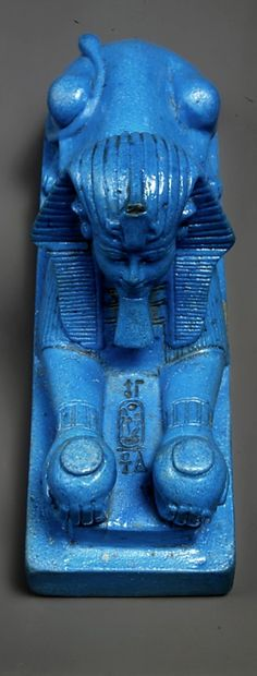 Faience Sphinx of Amenhotep III, New Kingdom,  Dynasty 18,  ca. 1390–1352 B.C. at The MET