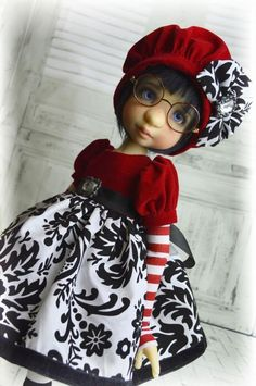 """""""Holiday Cheer"""" ooak outfit for Bea, Gertie,  Rue MSD BJD Kaye Wiggs by Tracy P"""