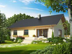 Dom parterowy, niepodpiwniczony, przeznaczony dla 3-4-osobowej rodziny. Dopracowany układ funkcjonalny domu harmonijnie koresponduje z pełnym wdzięku wyglądem zewnętrznym. Symetrię budynku podkreślają dwa zewnętrzne okna oraz lampy, oświetlające strefę wejściową, która została zaakcentowana zgrabnym łukiem. Całość dopełnia ciepła, przyjazna kolorystyka elewacji. Gazebo, Pergola, Interior Design Living Room, Modern Architecture, Future House, House Plans, Home And Family, New Homes, Home And Garden