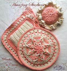 This Beautiful Hand Crocheted PEACHES N CREAM Star Burst Potholder Set with Grabber Hat  is a wonderful tool for that special cook and a great addition to any home!  Special Bonus: a color coordinated pot handle cover by Kathys Creations
