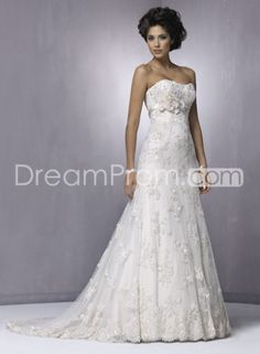 Buy Cheap Cheap Gorgeous A-Line Strapless Floor-length Chapel Train Lace Wedding Dresses SN204170 Lace Wedding Dresses under $223.79 only in udreamprom.