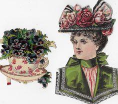 DIECUT SCRAPS ~ ELEGANT LADY ~ RED TOILE TEA CUP & SAUCER, Victorian Advertising | eBay