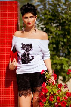 #Black #lace, #Swarowski #white #crystals, #white stylish tunic - so simple and so fabulous. Wear this #Little #Black #Cat #tunic and you will feel like a catwomen super hero. So how about saving a Fashion world with your excellent style?   Made of 42% cotton/ 50% modal/ 8% elasthan blend. Hand wash or spot cleaning (professional dry cleaning) only.  No bleach. The sizes are: XS, S, M, L, XL.