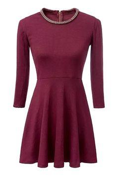 Sequined Embellished 3/4 Sleeve Dress