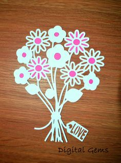 Flower bouquet design papercutting template to print and cut bunch of flowers paper cut svg dxf eps files and a printable template for hand cutting digital download small commercial use ok mightylinksfo