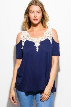 VOYAGERS TOP   navy blue crochet lace cold shoulder short sleeve boho top - 1015store.com