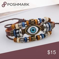 Unisex Multiplayer Evil Eye Leather Bracelet This wristband bracelet for unisex with sporty style that adds definition to your look. Great accessory and a unique gift.                                                                Add to Cart  Ushoptwo Jewelry Bracelets