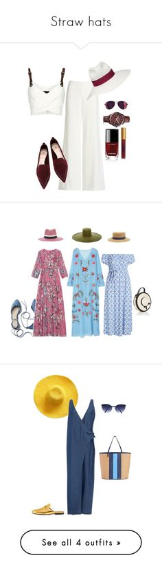 """Straw hats"" by mary-en ❤ liked on Polyvore featuring Theory, Borsalino, Barbara Bui, FOSSIL, Nicholas Kirkwood, Chanel, Lipstick Queen, summerinthecity, MANGO and Filù Hats"