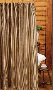 Amazon.com: Shower Curtain - York Ticking Black Stripes - Primitive Country Rustic Fabric Bath: Home & Kitchen