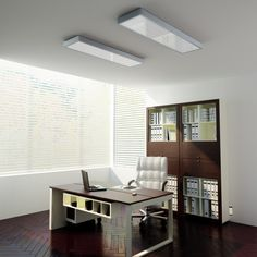 Rectangular ceiling light for fluorescent tubes. Sleek design with an aluminum frame and an opal PMMA diffuser. Opal Color, Office Lighting, Studio, Diffuser, Corner Desk, Minimalism, Surface, Ceiling Lights, Fluorescent Tubes