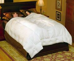 The Pacific Coast Embrace Down Comforter is specifically designed to accommodate two people. An extra line of baffle boxes (a construction technique to keep fill in place) in the center prevents disturbance if one person tosses and turns, and regulates each sleeper's individual warmth. Dry cleaning is recommended. (pacificcoast.com) Pros: •This comforter provides very good warmth. •The comforter keeps its appearance after being washed. •The fabric didn't show any pilling — a sign of…