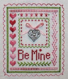 """Stitch a """"Be Mine, Valentine"""" counted thread sampler using a variety of counted surface embroidery stitches on evenweave fabric. Beads and a silver charm add a finishing touch to the design.: Be Mine, Valentine - A Counted Thread Sampler"""