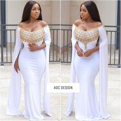 Royal Montana ( White color )// kaftan // abaya // jumpsuit // for prom , babyshower , wedding , gal African Wedding Attire, African Attire, African Fashion Dresses, African Dress, Fashion Outfits, Dubai Wedding Dress, Kaftan Abaya, Prom Dresses, Wedding Dresses