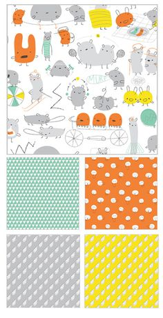 How stinkin' cute is this fabric??    Monsterz by Cloud9 Fabrics    #fabric #lolapink